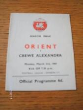 03/03/1969 Leyton Orient v Crewe Alexandra (Team Changes). No obvious faults, u