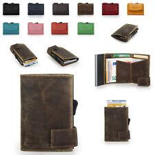 SecWaL 2 Leder Mini Geldbörse Geldbeutel RFID Kartenetui mit Münzfach Druckknopf