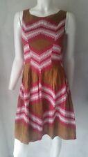 HALLHUBER Vestido lino multicolor Marrón Talla 34 UK6 NUEVO