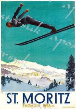 Vintage St Moritz Switzerland Ski Jumping Poster A3/A4 Print