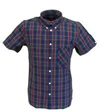 Merc Mack Azul Marino Tartán Algodón De Manga Corta Camisa a botones Retro Mod