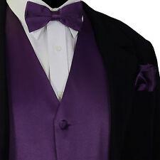 Deep Purple Tuxedo Suit Vest Waistcoat and Straight Cut Bow tie & Hanky Wedding