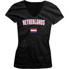 The Netherlands Amsterdam Dutch Flag European Pride Flag Juniors V-neck T-shirt