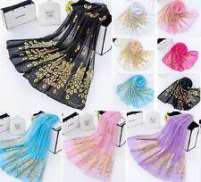 Gold Foil Print Peacock Shawl Long Soft Scarf Wrap Chiffon Cotton Blend U Pick