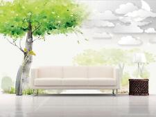 3D Arbre Vert 55 Photo Papier Peint en Autocollant Murale Plafond Chambre Art