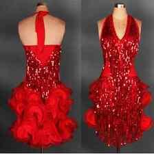 New Latin salsa tango Cha cha Ballroom Competition Sequined Tassels Dance Dress