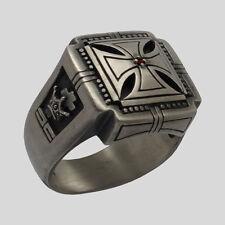 UNIQABLE Knights Templar Sterling Silver .925 Ring Skull Cross Masonic All Size
