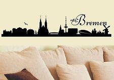 Wandaufkleber-Skyline Bremen mit Schriftzug Bremen- 7 Größen wählbar-458