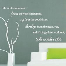 La vita è come una macchina Fotografica Famiglia ARTE Muro Quotes Adesivi Murali Parole Frasi Decalcomanie