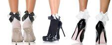 Nylon Anklet W/Ruffle & Satin Bow, Ankle Socks, School, Frilly Ankle Socks