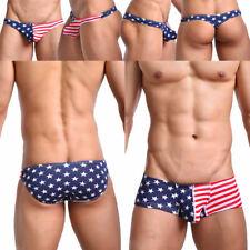 Mens Underwear Brief Thong Boxer Briefs Shorts USA Flag Cotton Bikini Underpants