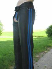 AW-772 lederchaps mit 2 Blauen streifen,lederhose,leather trousers,leder chaps