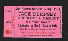 Very Rare Jack Dempsey boxing ticket tournament boxer World Champion