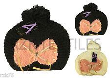 Mujer Mariposa Gorro Con Pompón, Negro De Diseño Pom Sombrero, Invierno Esquí