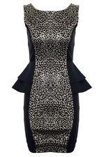 Damen Gold Leopardenmuster Ärmellos Doppel Schößchen Damen Party Kurzes Kleid