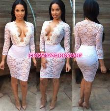 New Elegant Women Ladies Club Slim Lace Patchwork Casual Party Bandage Dress