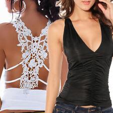 Top donna pizzo canotta V-neck t-shirt nero bianco maglietta