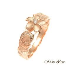 925 Sterling Silver Hawaiian Scroll Pink Rose Gold CZ Plumeria Flower Ring #1-10