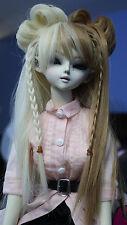 Doll Wig Lolita Style with Buns Braids Blonde Brown Split BJD Size 7, 8.9, 10