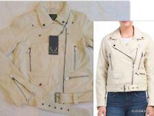 NWT BOD & CHRISTENSEN Sizes S/XS Asymmetric Zip Moto Leather Jacket in VANILLA