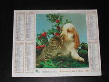 Calendrier  PTT 1986 chat et chien