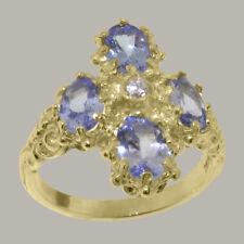 18ct 750 Yellow Gold Cubic Zirconia & Tanzanite Womens Cluster Ring