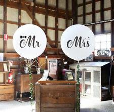 Mr Mrs White Balloons Large Latex Wedding Balloons Bride Engaged Print Love