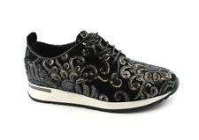 CAFè NOIR DL900 nero scarpe donna sneakers velluto paillettes ricami lacci
