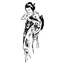 FLIRTING GEISHA Japanese unmounted rubber stamp #12