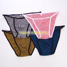 K242C Hot Men's Sexy Tanga String Bikini Contoured Pouch Stripes Poly Cotton