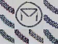 ztm Triangle Chain Beaded Necklace/Bracelet/Earrings Set - Gunmetal