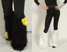 2 GANTS FOURRURE, jambières noir ou blanc 46 cm, Costume, Raver, hippie