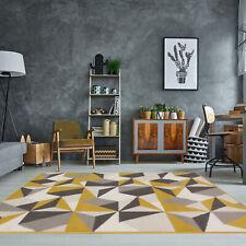 Tapis de salon géométrique kaléidoscope jaune moutarde ocre gris beige Moderne