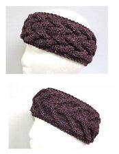 Llama silk dusty purple hand knit handmade women's headband headwrap ear warmer