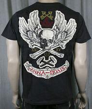 MONARCHY Men's Society Skull Bones Black T Shirt Crew Neck