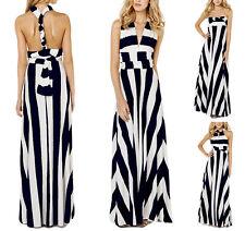 Vestito Lungo Donna Righe Trasformabile Woman Maxi Dress Different Wears  110095 b2ca8143449