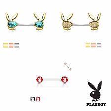 Playboy Nipple Piercing Surgical Steel Barbell - Epoxy / Sand Blast / Abalone