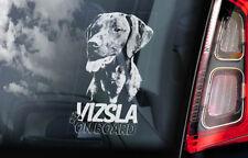 Vizsla on Board - Car Window Sticker - Hungarian Pointer Dog Sign Decal - V02