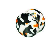 1 Paar Camouflage Acryl Kunststoff Plugs Weiß Schwarz Orange PIERCING 10mm-16mm
