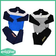 Completo tuta da bambino blu nera Asics junior manica lunga casual cotone moda