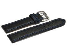 Uhrenarmband echt Leder schwarz mit blauer Naht 18, 20, 22, 24 mm NEU