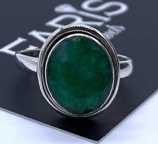 DESIGNER 925 Sterling Silber Damen Smaragd Oval Ring grün Edelstein Schmuck