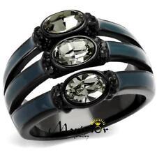 Black & Blue IP Stainless Steel Black Diamond Crystal Fashion Ring Women Sz 5-10