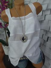 Singh S Madan Leinen Bluse Schlupfbluse Shirt Gr. 34 bis 42 weiß NEU (026)