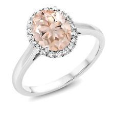 1.60 Ct Oval Peach Morganite 10K White Gold Ring