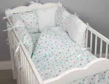 8 pc cot /cot bed bedding sets PILLOW BUMPER + CASES mint grey stars white