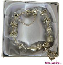 Espumoso de plata del encanto del Rhinestone corazón Pulsera Regalos-Presentes En Caja