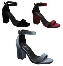 Anne Michelle F10747 Ladies Velvet Block Heeled Ankle Strap Sandals