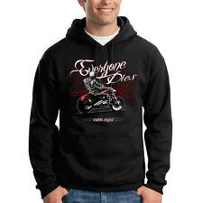 Everyone Dies Skull Biker Motorcycle Chopper Cool Hooded Sweatshirt Hoodie