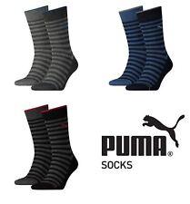 2 Pairs Puma Mens Cotton Rich Striped Classic Socks